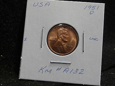 Usa:   1951 D   Lincoln Wheat Cent Coin  (Unc.) (#57)    Km # A132