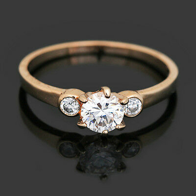 18k Rose Gold Plated Made with Swarovski Crystals Fashion Three Stone Ring SR60