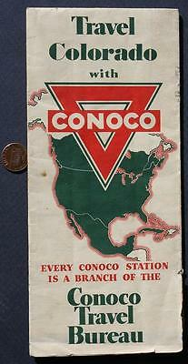 1940s WWII Era Conoco Oil Gas service station Travel State of Colorado road map!