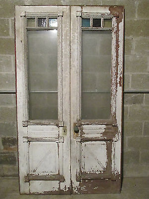 ~ Antique Double Entrance French Doors With Stained Glass 48 X 85 ~ Salvage