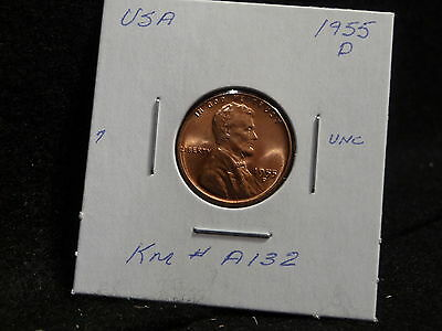 Usa:   1955 D   Lincoln Wheat Cent Coin  (Unc.) (#71)    Km # A132