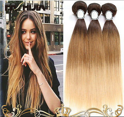 1 pc Brazilian Ombre Remy Straight Weave Unprocessed Human Hair Extensions 50g