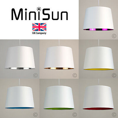 Modern Tapered Pendant Shade with Coloured Inner Lamp Drum Shade Light