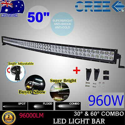 Curved 50inch 480W CREE LED Work Light Bar Combo Offroad JEEP 4X4WD SUV ATV JEEP