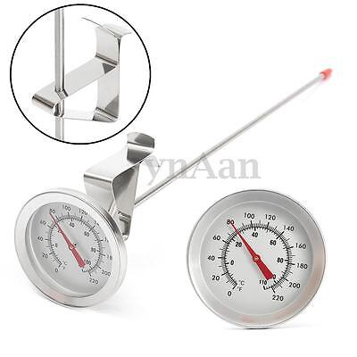 "Stainless Steel Sugar Jam Home Brew Thermometer Side Clip 12"" 30cm Long Probe"
