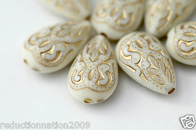 Cream Gold Etched Acrylic Teardrop Beads Flat Drop 18mm (12)