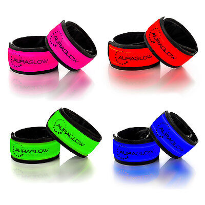 Auraglow Super Bright High Visibility Light-Up Reflective LED Arm Band Twin Pack