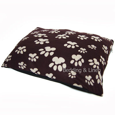 Soft Fleece Paw Brown Large Dog Pet Bed Zipped Cover + Optional Pillow