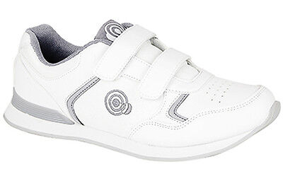 Mens Brand New White Velcro Carpet Bowls Bowling Shoes Size 3 - 11