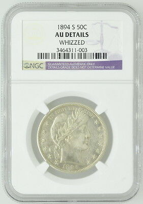 1894 US S Barber Half Dollar AU Detail Whizzed NGC Certified Coin Currency