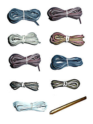 DECK SHOE LACING KIT LEATHER Laces 120cm long with Threading Needle AND Instr...
