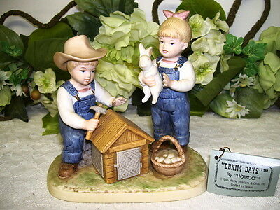 Denim Days Easter Figurine Farm Boy & Girl W/ Bunny & Basket Of Eggs 1985