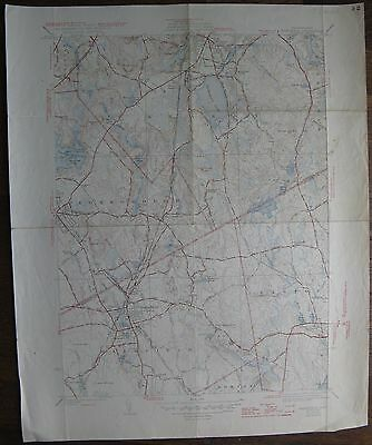 1947 Mansfield MA QUAD Geological Survey Map 17x21 (Foxborough, Sharon, Easton)