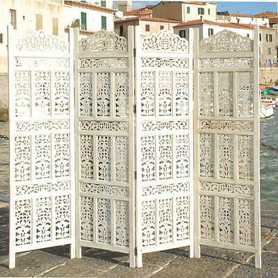 4 Panel Screen Room Divider Paravent Indian Hand Carved Wooden  K W