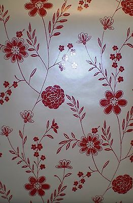 Bright Red Flowers on Satin Pearl Off White Wallpaper By Brewster FD58940