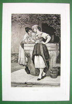 LOVELY MAIDENS at Water Well Engagement Ring - Victorian Era Antique Print