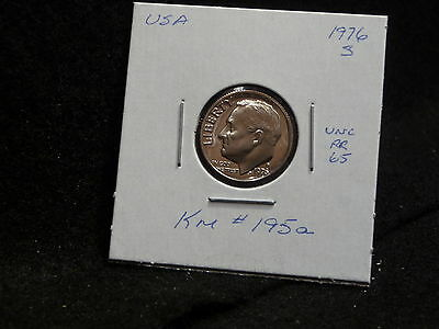 UNITED STATES:  1976 S  ROOSEVELT 10 CENT  COIN PR. (UNC.)  (#97)  KM # 195 a