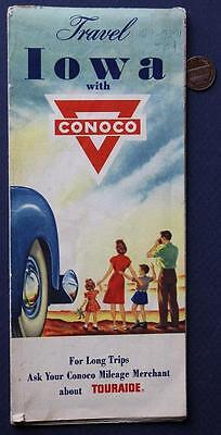 1950s Era Travel With Conoco Gas & Oil service station Iowa State map-VINTAGE!