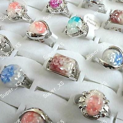 25pcs Purple Amethyst Stone Rings Silver Plated Alloy Wholesale Lots Jewelry BFP