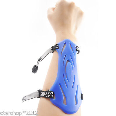 2-Strap Shooting Target Archery Arm Guard Protection Soft Blue Rubber Arm Guard