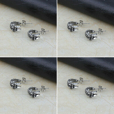 Wholesale Lot 4 Pair Fashion Stainless Steel Mens Dragon Claw Ear Stud Earrings
