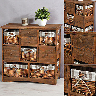 landhaus kommode schrank regal in shabby waschgrau wei 3 schubladen und 3 k rbe eur 89 90. Black Bedroom Furniture Sets. Home Design Ideas