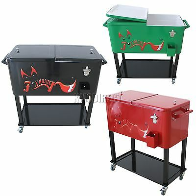 FoxHunter Patio Deck Ice Cooler Rolling Cart Outdoor 65 Quart Portable Party New
