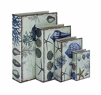 """DecMode 54042 Wood Leather Book box Set Of 4 - 6""""  9""""  12""""  15"""" Height"""