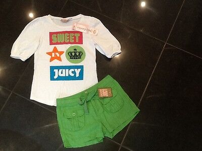 NWT Juicy Couture New & Gen. Girls Age 8 Green Cotton Shorts & T-Shirt With Logo