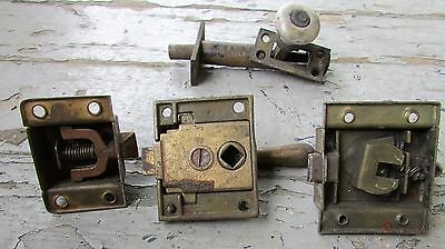 4 Antique Vtg Door Latch Lock Arts and Crafts Marble Handle Dead Bolt Hardware