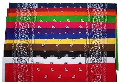 12 pack ASSORTED COLORS PAISLEY BANDANA wholesale pasiley colored bandanas NEW