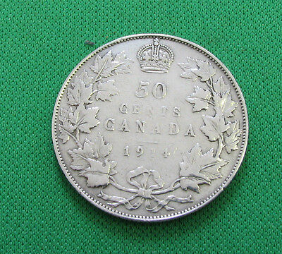 1914 Canada 50 Cents silver Fine but harshly cleaned
