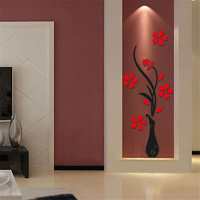 3D Flower Vase DIY Removable Mirror Wall Art Sticker Home Room Decor Decal Mural