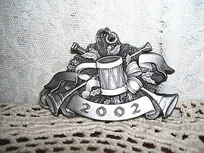 Highland Tank Christmas Ornament Drum Horn 2002 Somerset Pa  Pewter