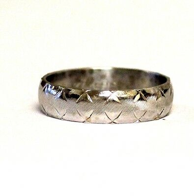 14k white gold 5mm textured wedding band ring 3.9g antique womans vintage