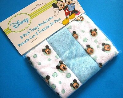 Pack of 3 Disney Baby 20cm x 20cm Wash Cloths Blue Shades FREE POST