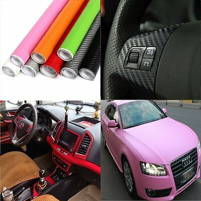 50*127cm 3D Carbon Fiber Vinyl Car Wrap Sheet Roll Film Sticker Decal