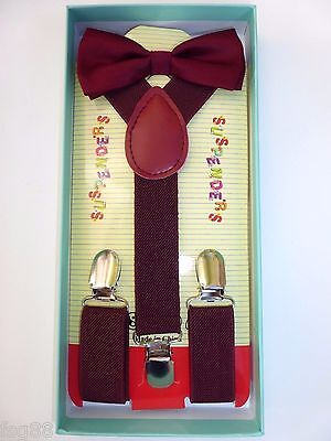 New Baby Toddler Kids Child Burgundy Suspenders Bow Tie Gift Box Set USA SELLER