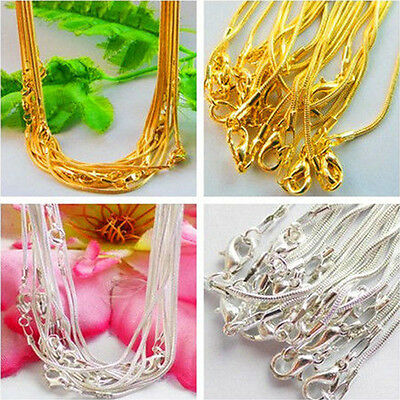 New Wholesale Lot 5/10Pcs Delicate Solid 1.0mm Snake Chain Necklace Silver/Gold
