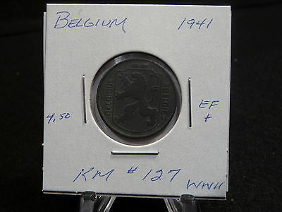 Belgium:  1941 Wwii   One Franc   Coin   (Ef+)  (#85)  Km # 127