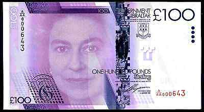 Gibraltar, £100, A/AA 000643, 1-1-2011, Almost Uncirculated-Uncirculated.