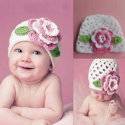 Big Flower Baby Cap Kids Infant Toddler Girl Warm Beanie Knit Hat Lovely DMX