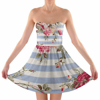 Antique Striped Floral Sweetheart Strapless Skater Dress
