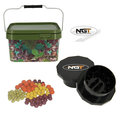 1 X Square 10L Camo Bait Buckets With Hinged Lid + Carp Fishing Boilie Grinder