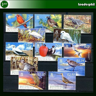 BRITISH INDIAN OCEAN TERRITORY - BIRDS Yvert # 290/301 Complete Set MNH, VF