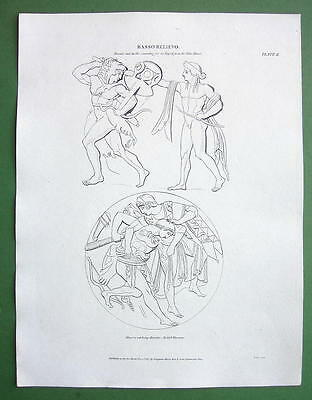 GREEK RELIEFS Hercules Minerva - 1807 A. REES Antique Print