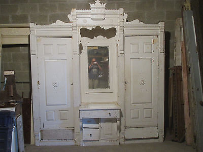 ~ Antique Carved Chestnut Closet Front Built In Armoire ~ Architectural Salvage