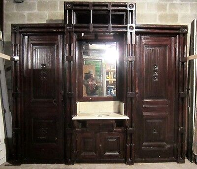 ~ ANTIQUE OAK CLOSET FRONT BUILT IN ARMOIRE 112 x 103 ~ ARCHITECTURAL SALVAGE ~