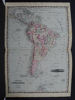 Antique Map Johnson's, 1862 Double Page, South America M10#39