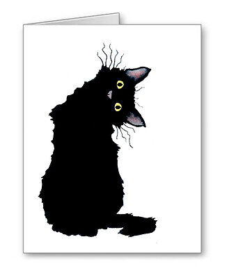 CRAZY BLACK CAT Note Cards With Envelopes